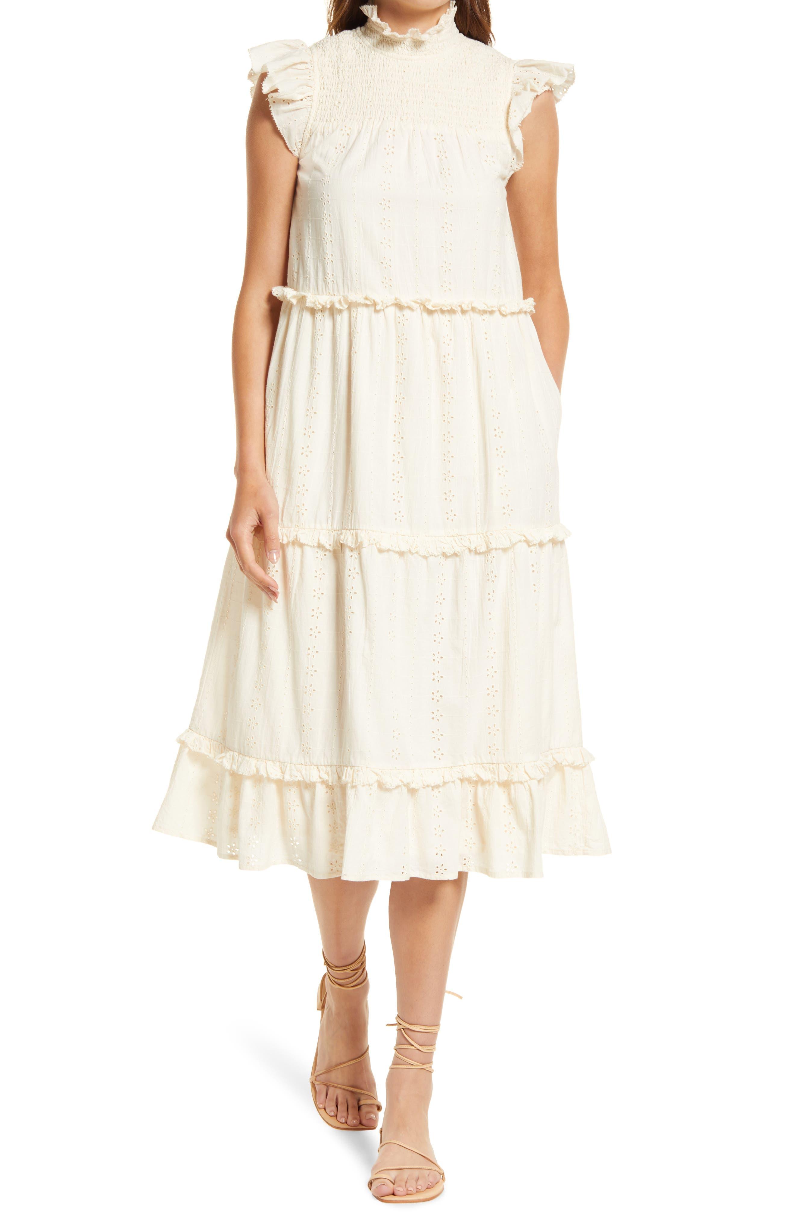 Linda Organic Cotton Eyelet Midi Dress