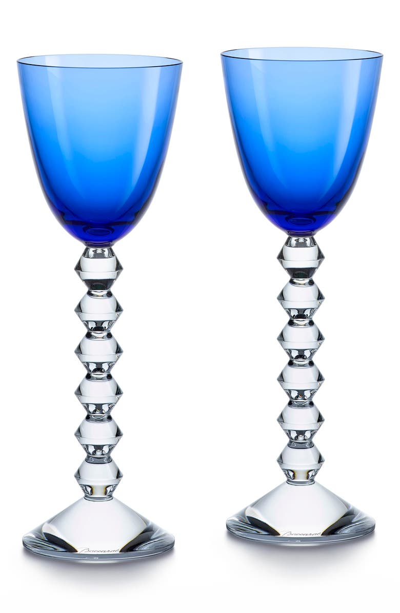 BACCARAT Véga Rhine Set of 2 Lead Crystal Wine Glasses, Main, color, BLUE