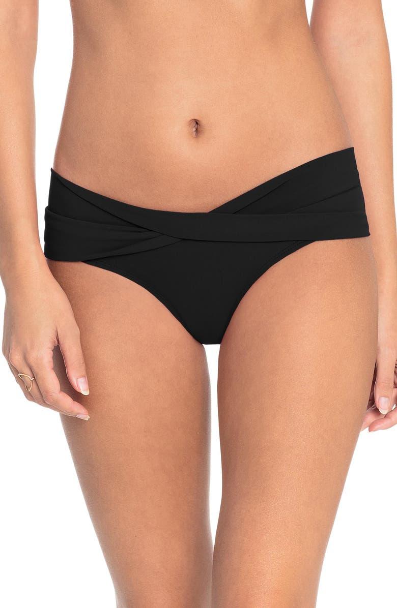 ROBIN PICCONE Ava Twist Hipster Bikini Bottoms, Main, color, BLACK