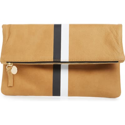 Clare V. Center Stripe Leather Foldover Clutch - Brown