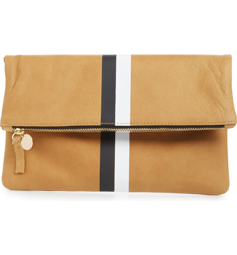 CLARE V. Center Stripe Leather Foldover Clutch, Main, color, CAMEL