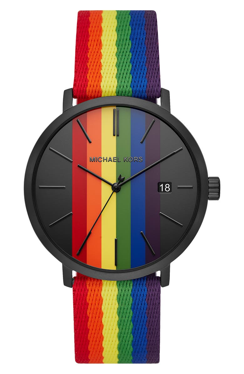 MICHAEL MICHAEL KORS Blake Nylon Strap Watch, 42mm, Main, color, 001
