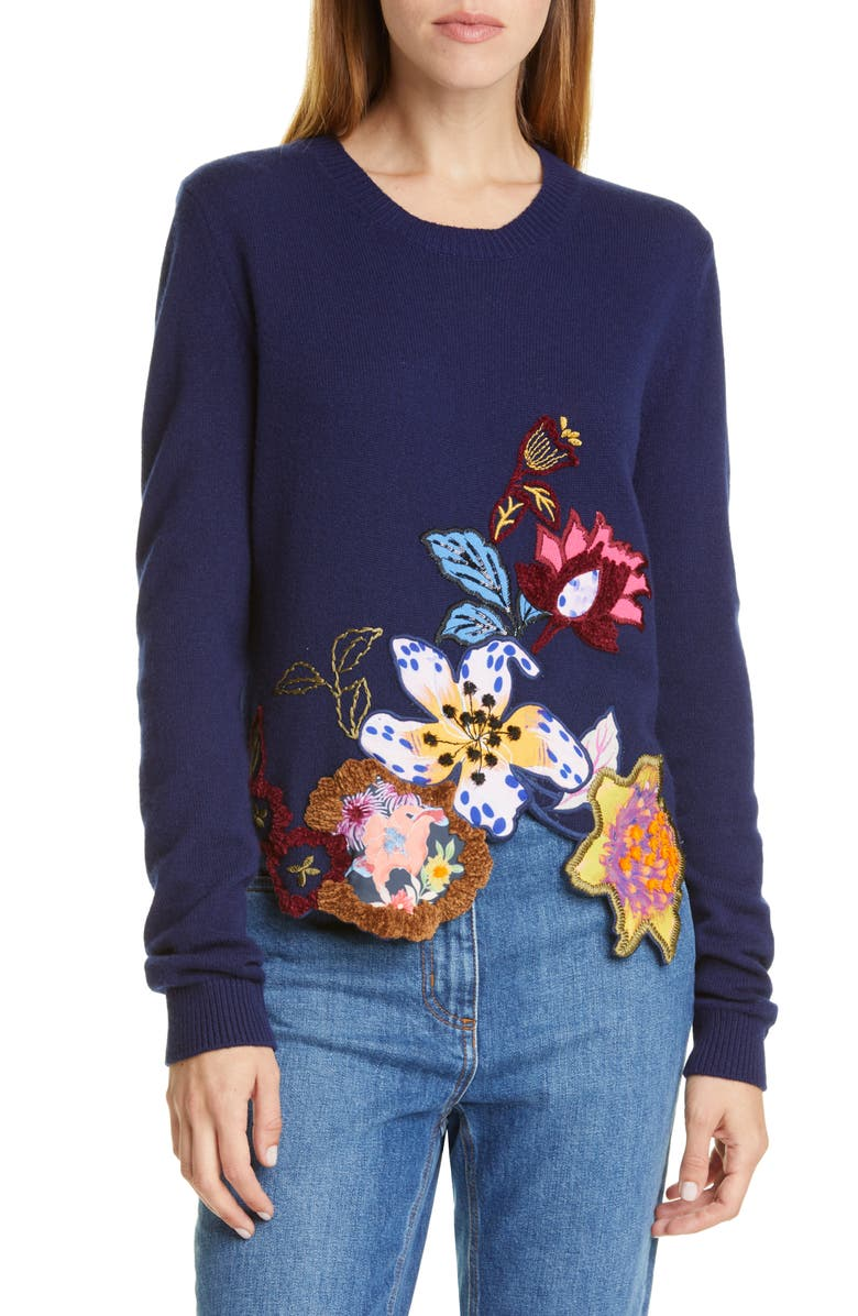 ETRO Embroidered Floral Asymmetrical Hem Wool Blend Sweater, Main, color, NAVY