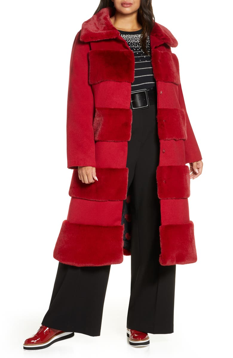 HALOGEN<SUP>®</SUP> x Atlantic-Pacific Faux Fur Tiered Stripe Long Coat, Main, color, RED CHILI