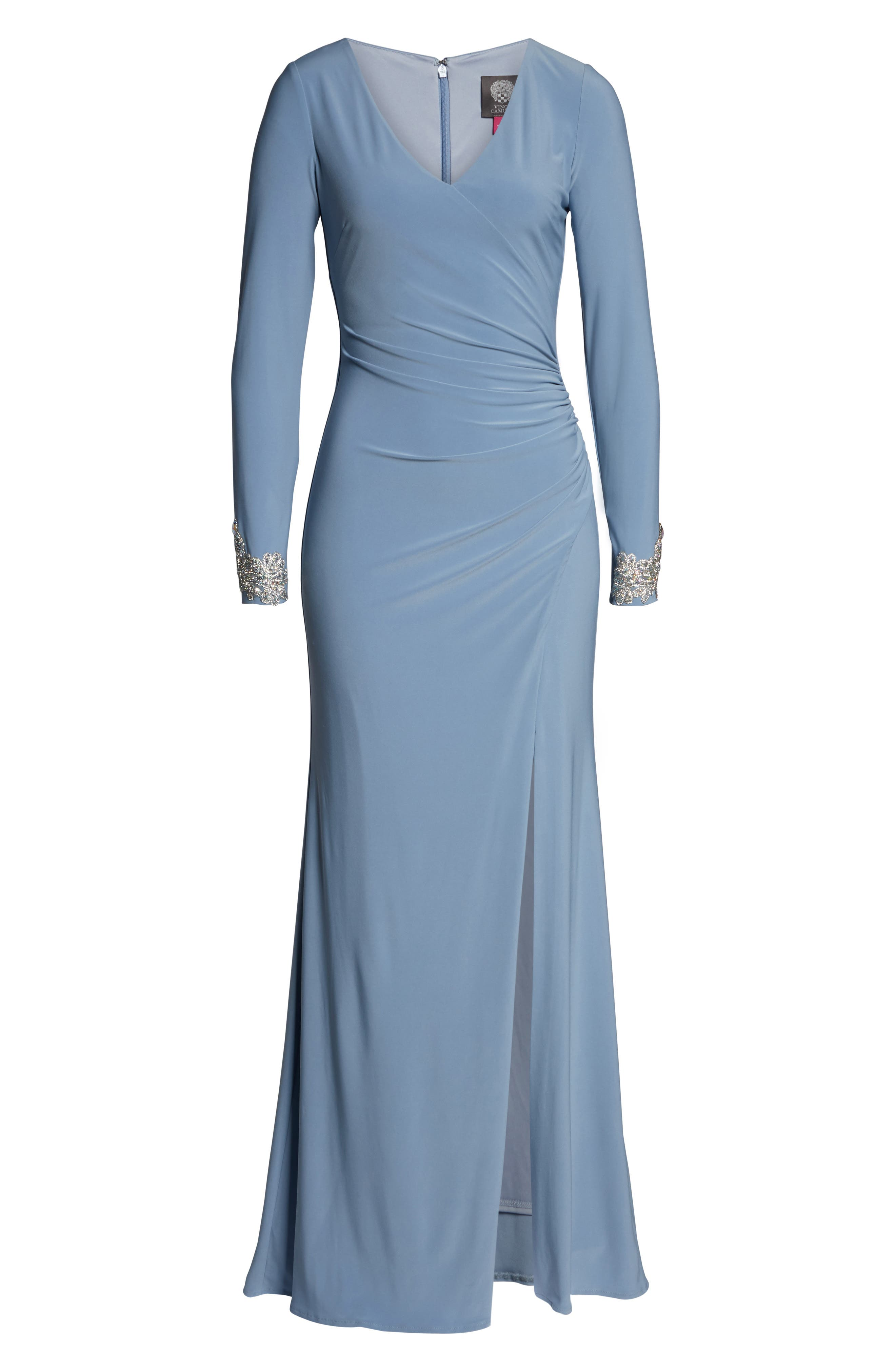 ,                             Long Sleeve Beaded Cuff Ruched Gown,                             Alternate thumbnail 7, color,                             STORM