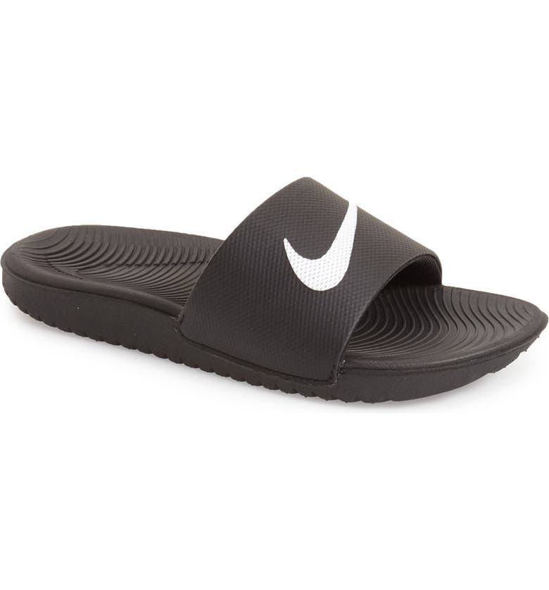 NIKE 'Kawa' Slide Sandal, Main, color, BLACK/ WHITE
