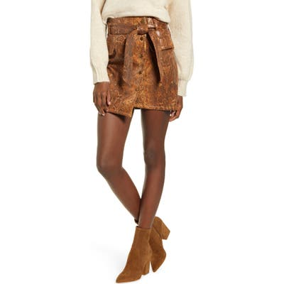J.o.a. Snake Print Faux Leather Miniskirt, Brown
