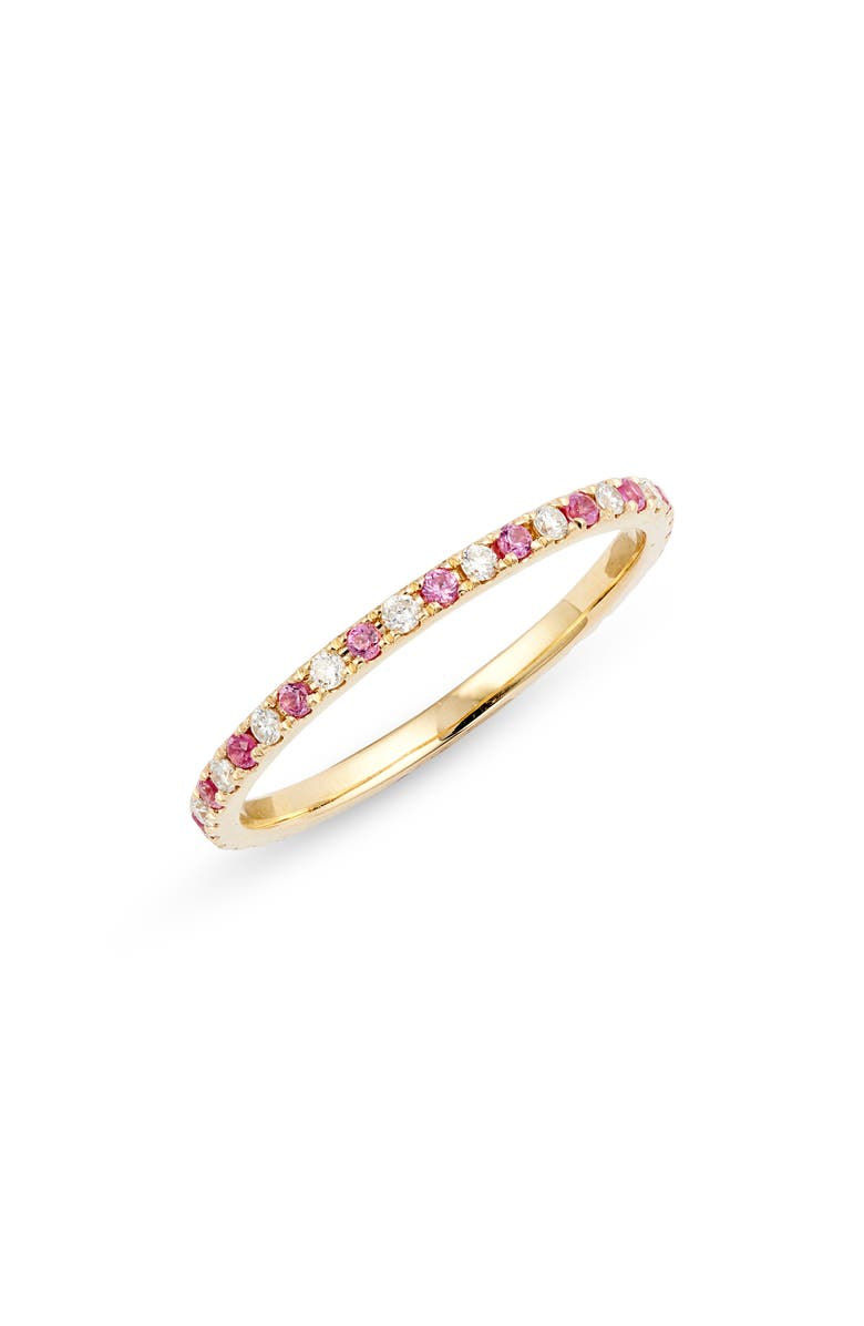 EF COLLECTION Diamond & Sapphire Band Ring, Main, color, DIAMOND/ PINK/ YELLOW GOLD