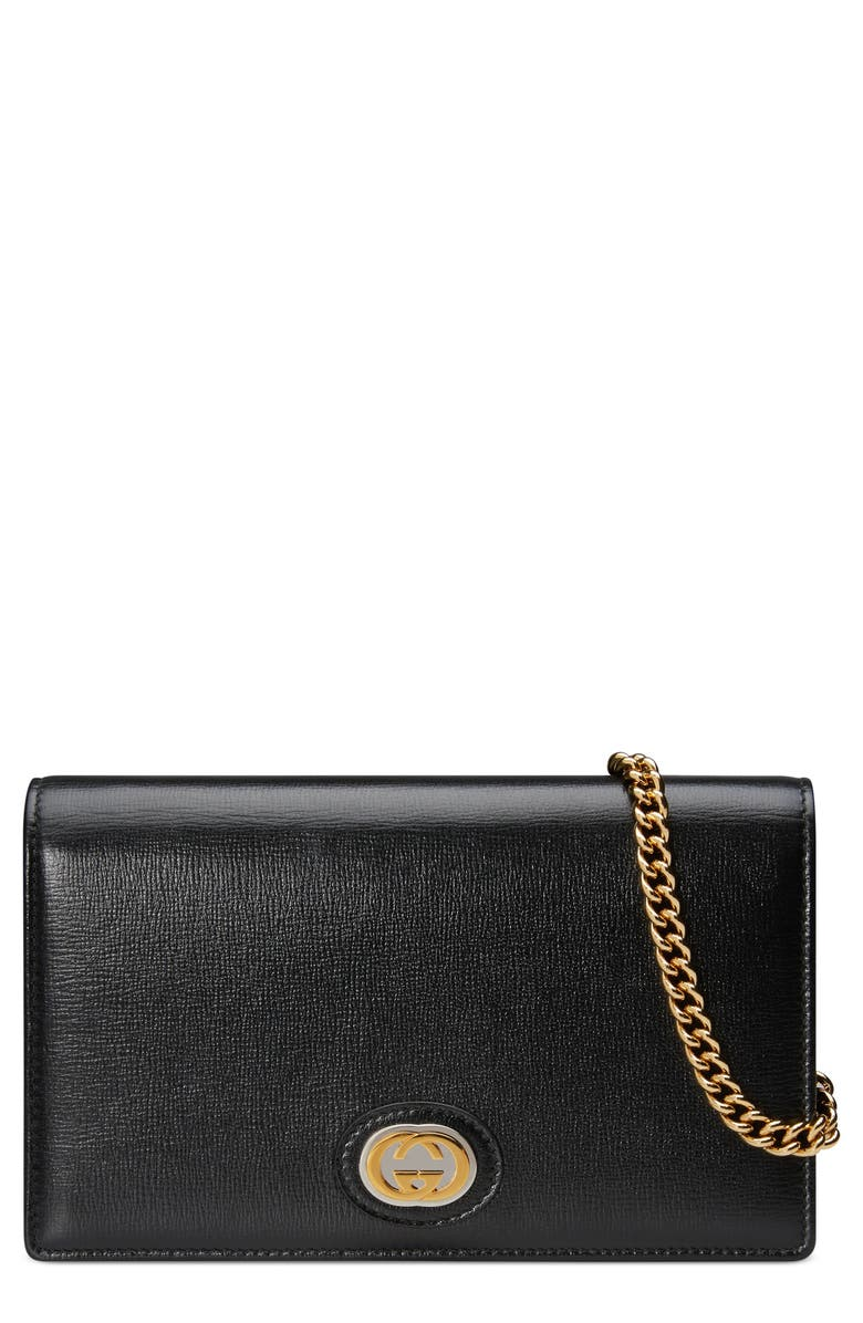 GUCCI Marina Leather Card Wallet on a Chain, Main, color, BLACK