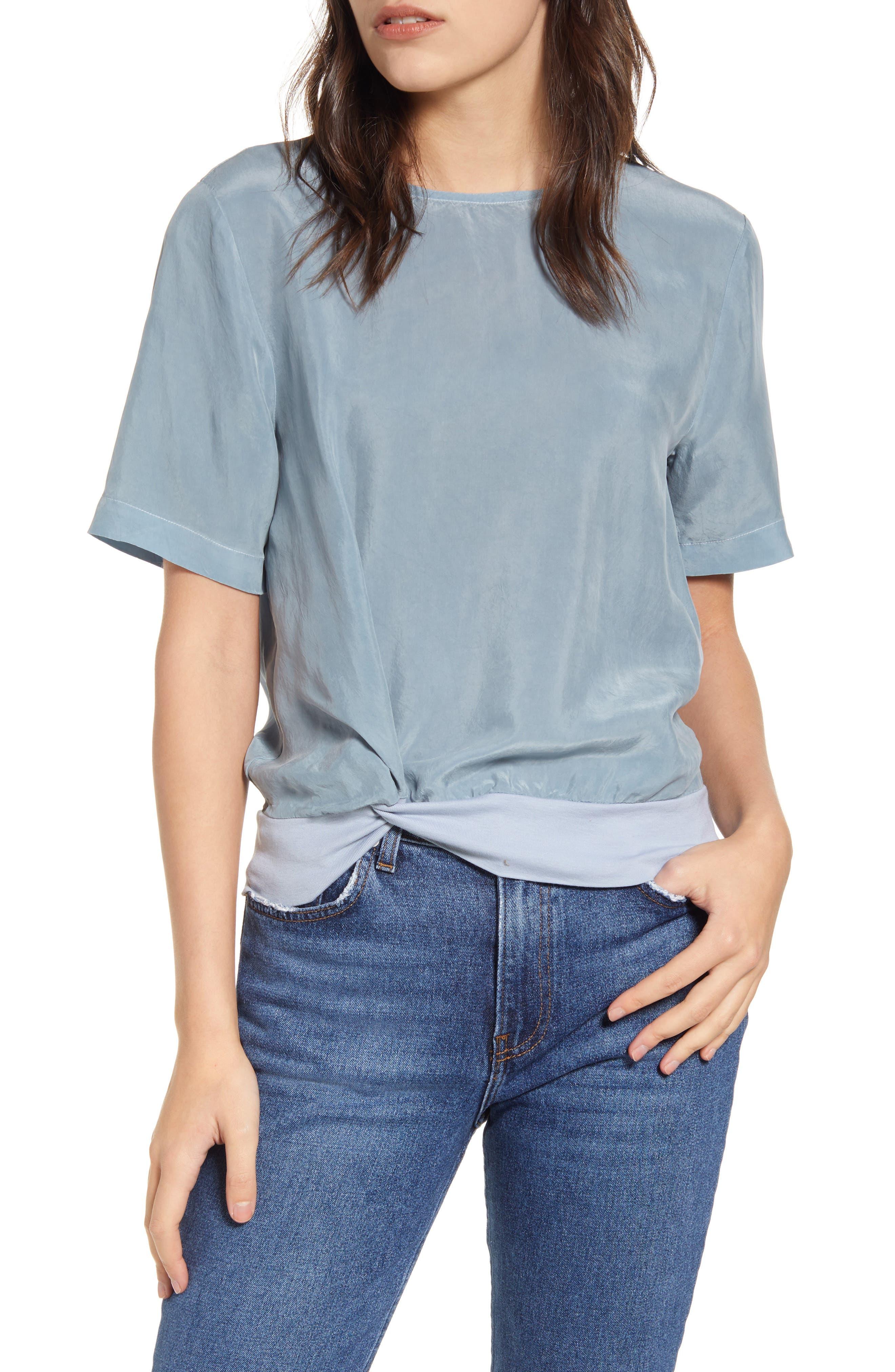 Image of Stateside Cupro Twist Short Sleeve Top