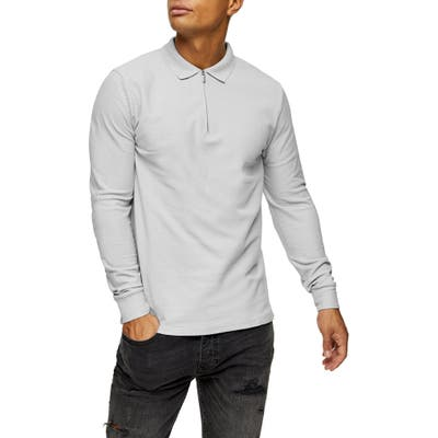 Topman Long Sleeve Pique Zip Polo, Grey