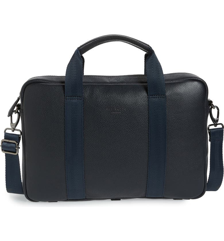 TED BAKER LONDON Importa Leather Document Bag, Main, color, NAVY