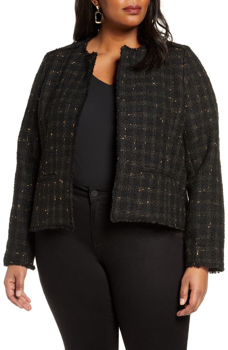 HALOGEN<SUP>®</SUP> Metallic Tweed Jacket, Main, color, BLACK- GOLD TWEED