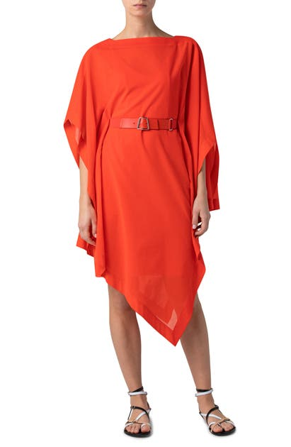 Akris BELTED COTTON VOILE ASYMMETRICAL DRESS