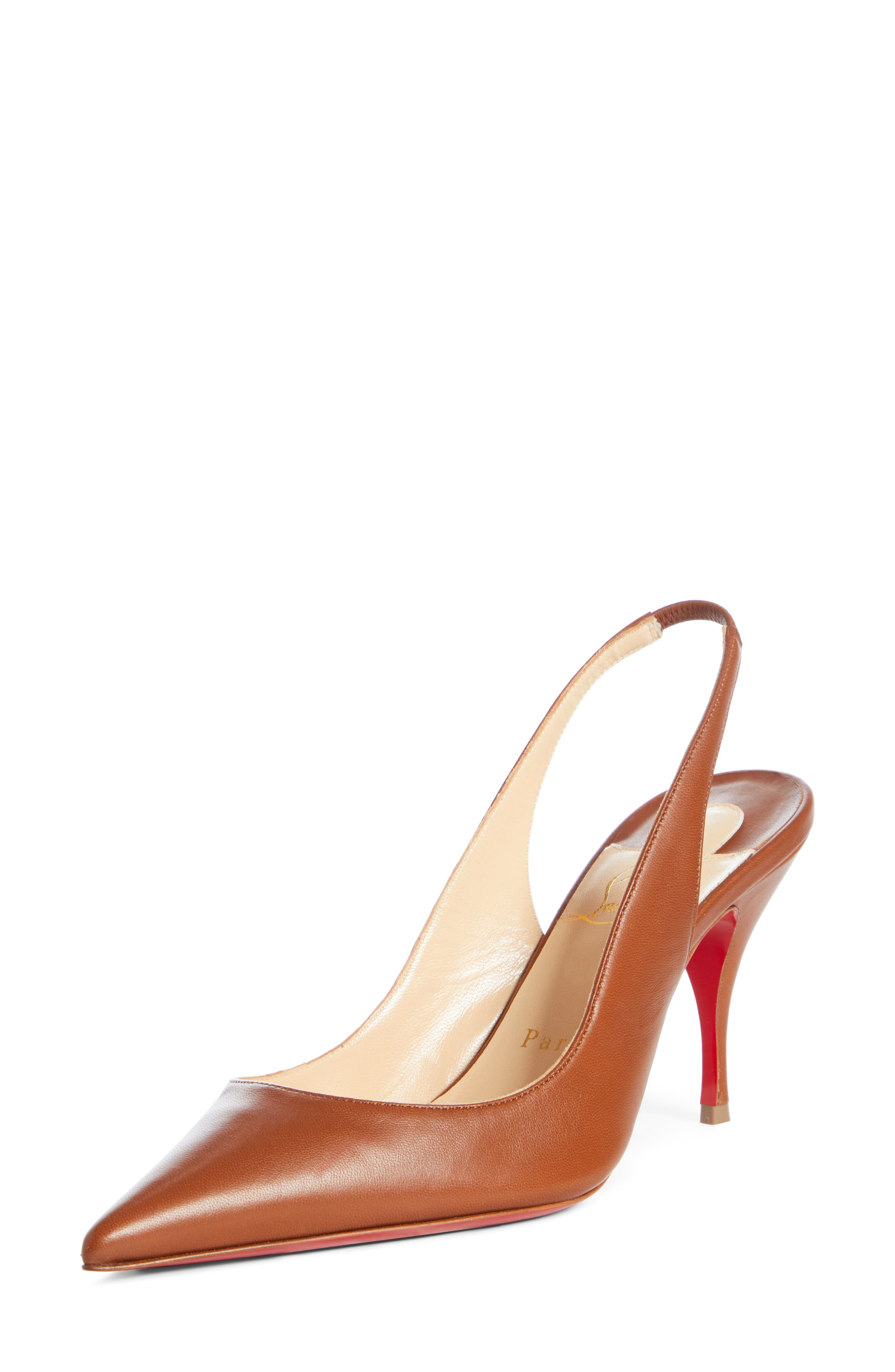 A sharp pointy toe, tapered heel and iconic red sole detail a slingback pump designed for power moves. Style Name: Christian Louboutin Clare Slingback Pump (Women). Style Number: 5935103. Available in stores.