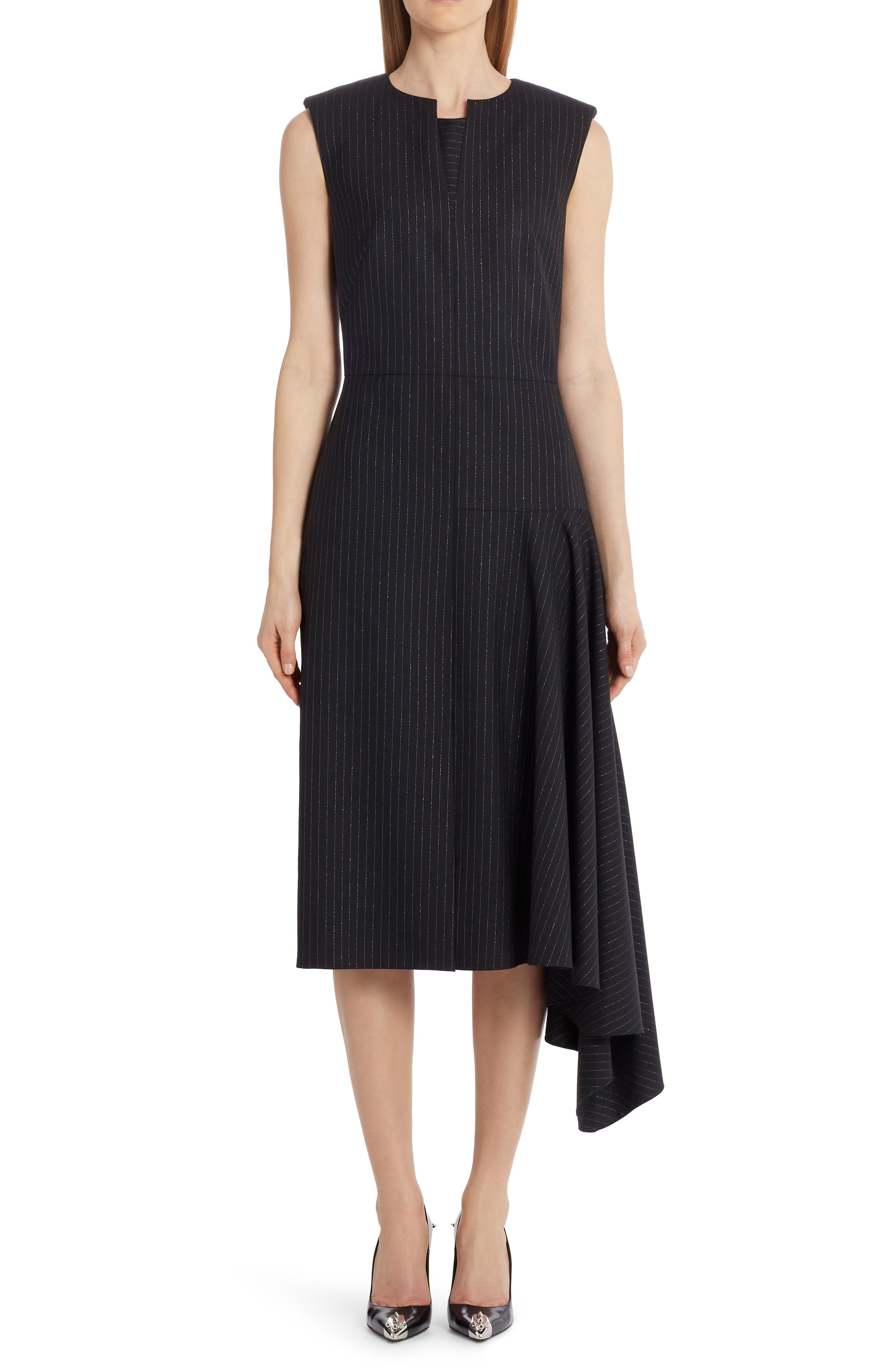 Image of Alexander McQueen Side Drape Midi Dress