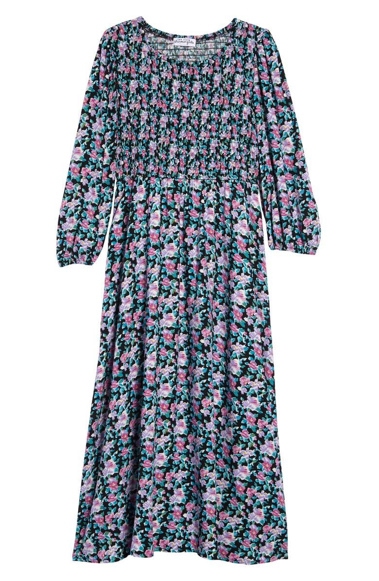 TEN SIXTY SHERMAN Smocked Long Sleeve Maxi Dress, Main, color, BLACK MULTI