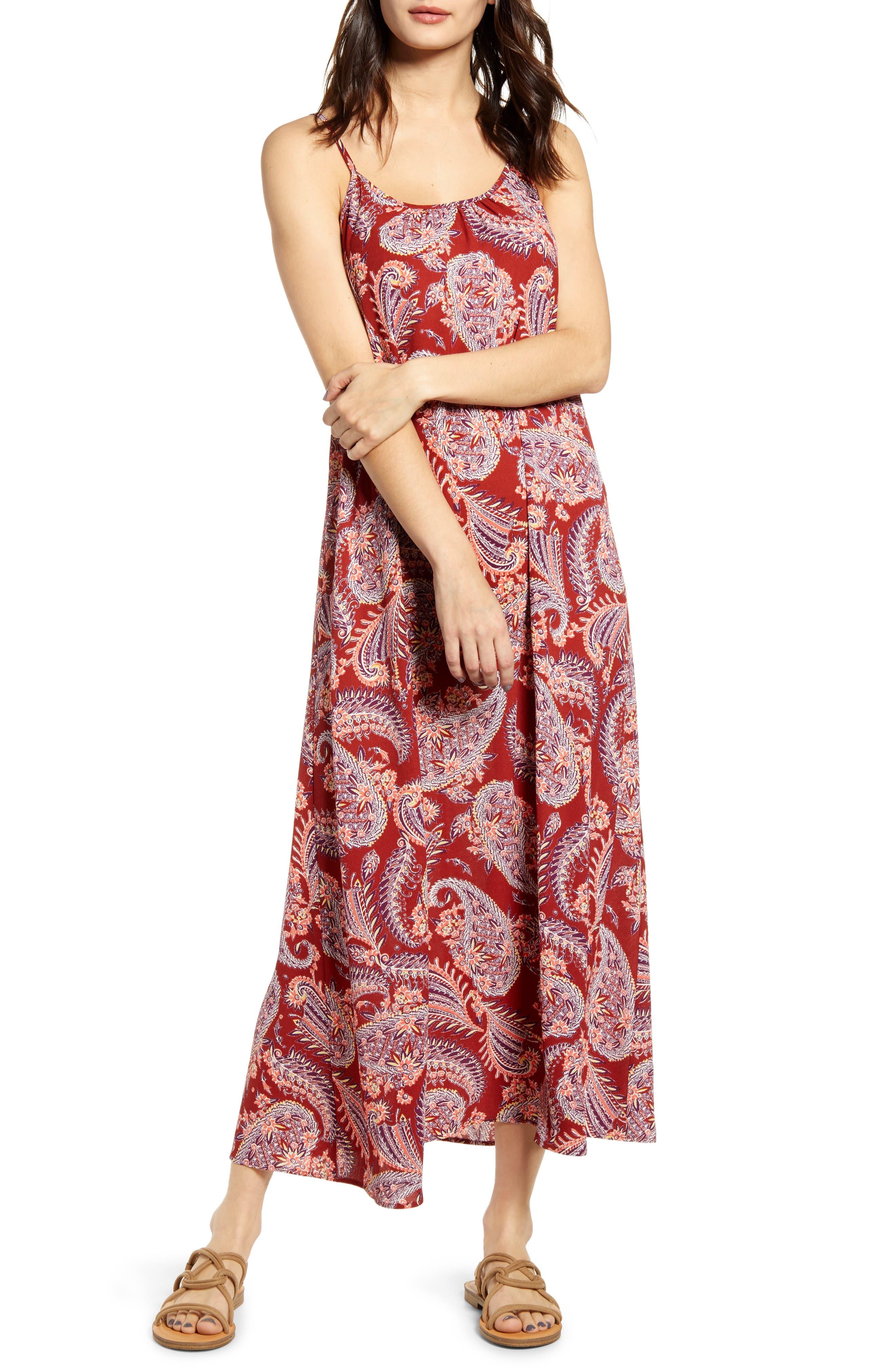 Band Of Gypsies Stripe Maxi Dress, Burgundy
