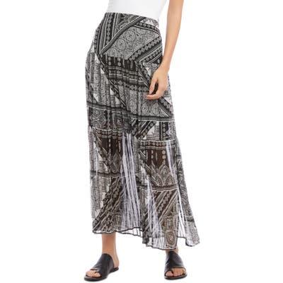Karen Kane Scarf Print Pleated Skirt, Black