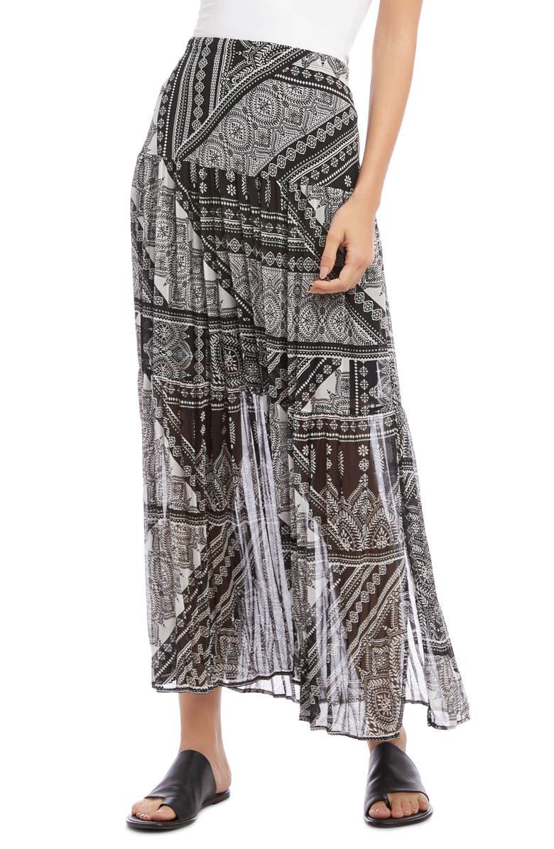 KAREN KANE Scarf Print Pleated Skirt, Main, color, PRINT