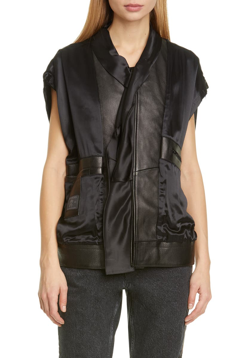 VETEMENTS Leather Trim Satin Vest, Main, color, BLACK