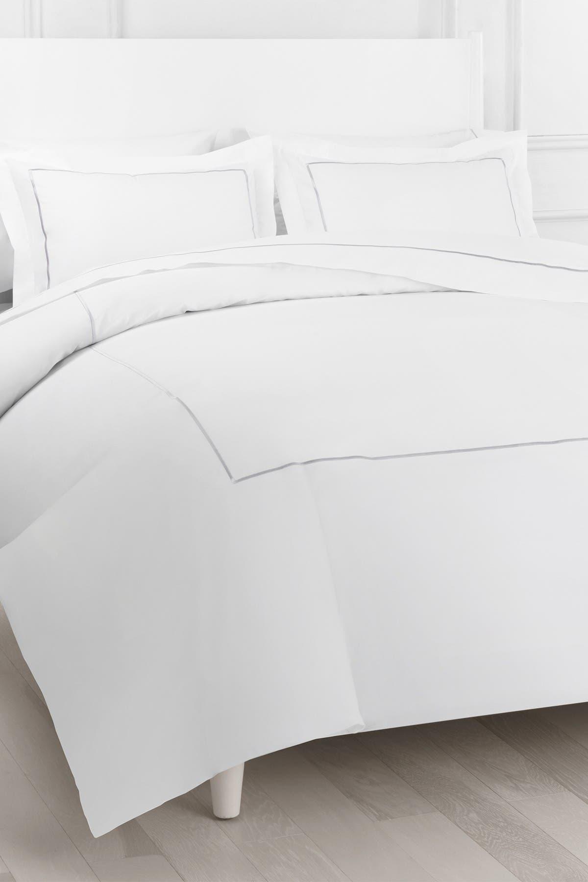 Image of Melange Home Single Marrow Stripe Duvet Set Grey-White Full- Queen Duvet Set