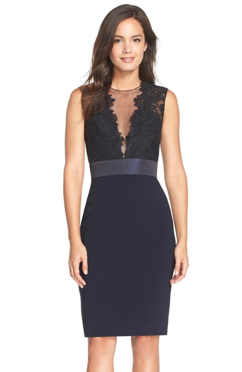 30a62b97 V-Neck Lace Sheath Dress, Main, color, 001