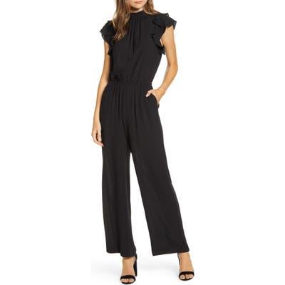 1.state Flutter Sleeve Jumpsuit, Black
