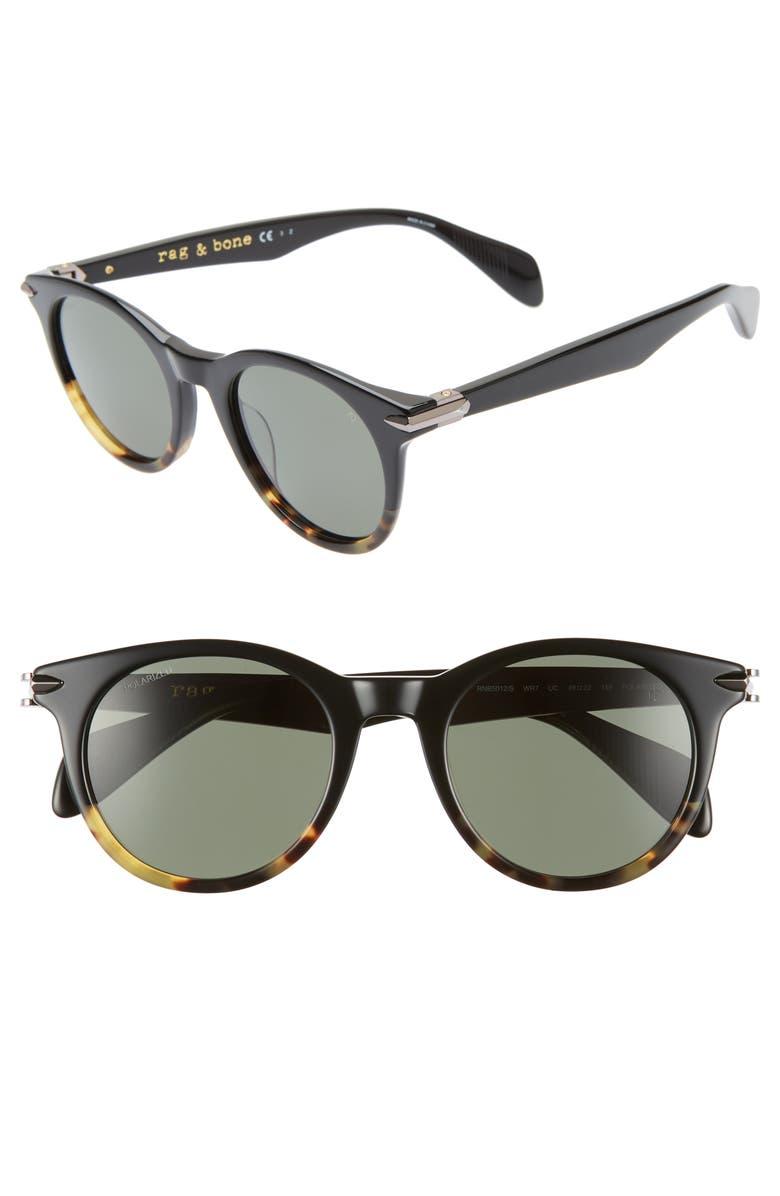 RAG & BONE 49mm Polarized Round Sunglasses, Main, color, BLACK/ HAVANA