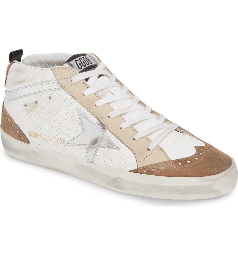 GOLDEN GOOSE Mid Star Sneaker, Main, color, WHITE/ SILVER