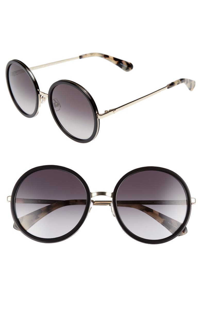 KATE SPADE NEW YORK lamonica 54mm gradient lens round sunglasses, Main, color, 001