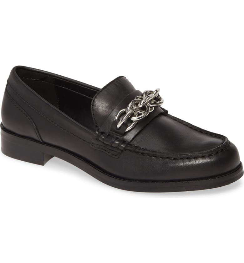 CALVIN KLEIN Sirah Chain Loafer, Main, color, BLACK LEATHER