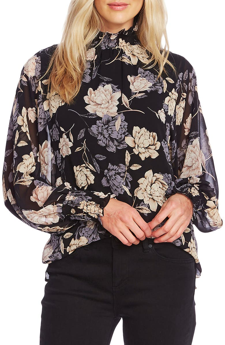 VINCE CAMUTO Enchanted Floral High Neck Long Sleeve Chiffon Blouse, Main, color, RICH BLACK