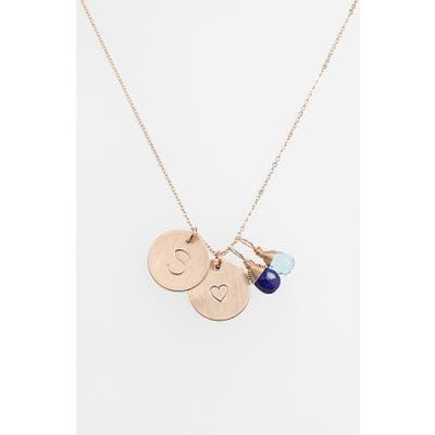 Nashelle Blue Quartz Initial & Heart 14K-Gold Fill Disc Necklace
