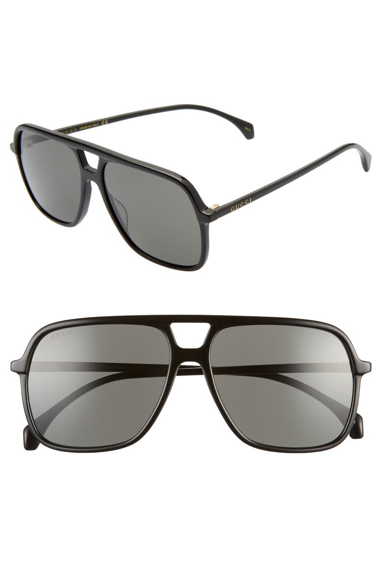 GUCCI 58mm Navigator Sunglasses, Main, color, SHINY BLACK