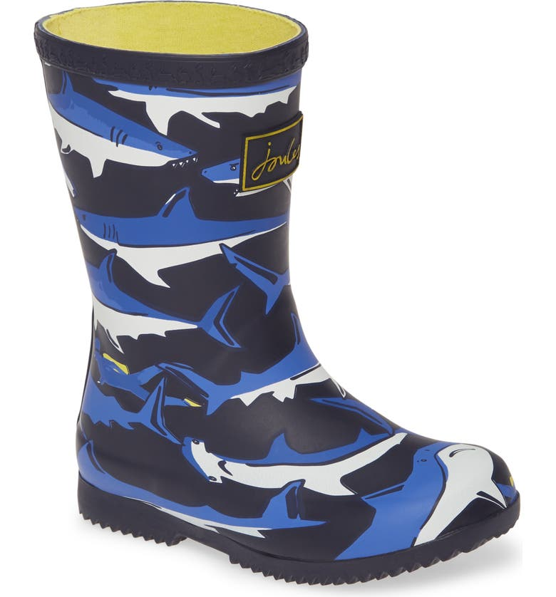 JOULES Roll Up Welly Waterproof Rain Boot, Main, color, NAVY SHARKS