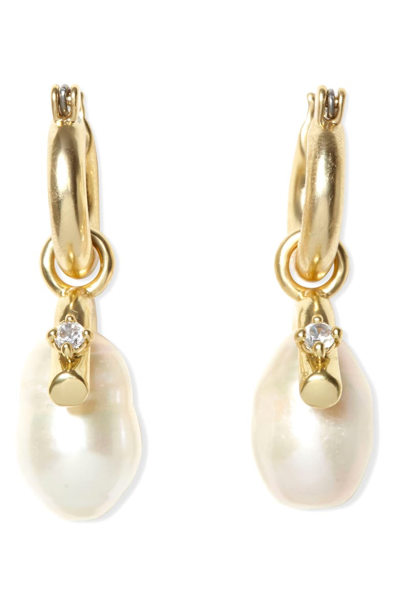 SOLE SOCIETY Pearl Drop Huggie Earrings, Main, color, GOLD
