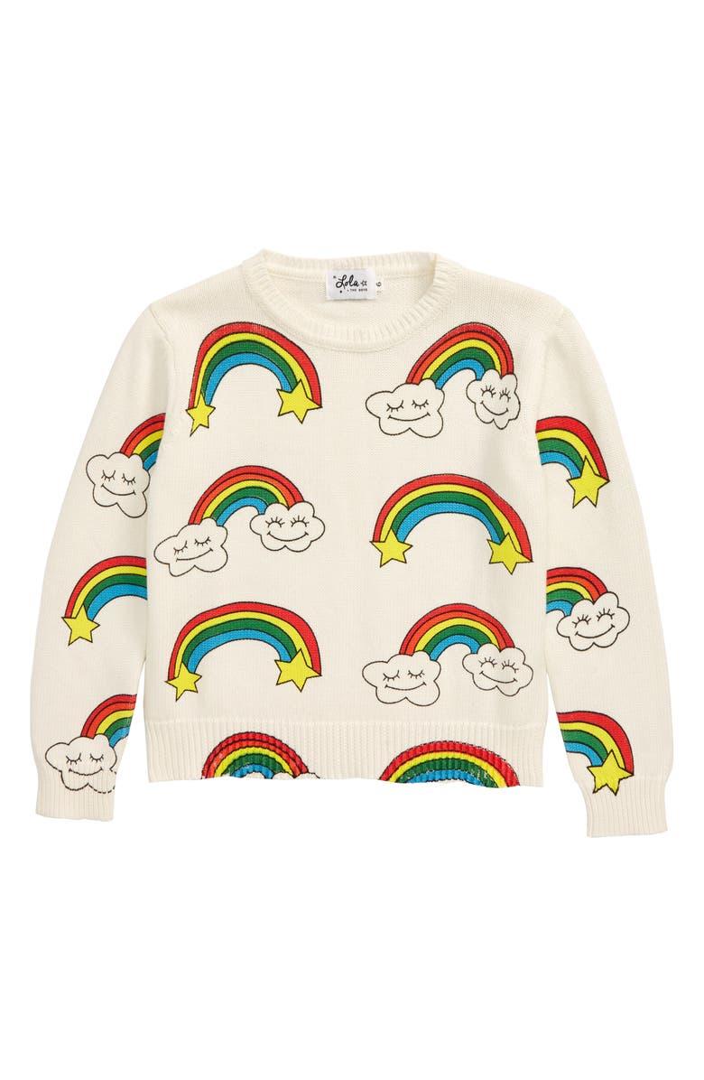 LOLA & THE BOYS Smiley Cloud Sweatshirt, Main, color, WHITE