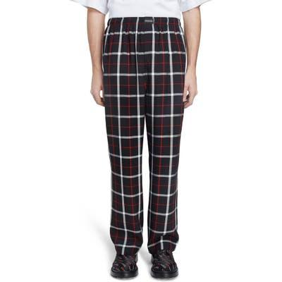 Balenciaga Check Pajama Pants, Black