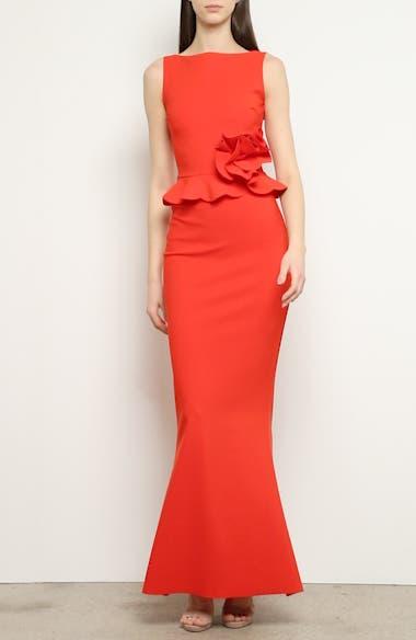 Side Ruffle Evening Dress, video thumbnail