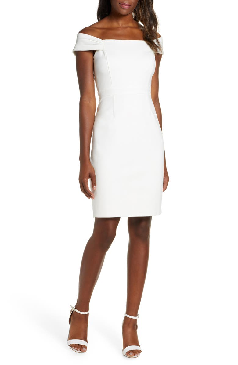 ADELYN RAE Jacklyn Off the Shoulder Dress, Main, color, WHITE