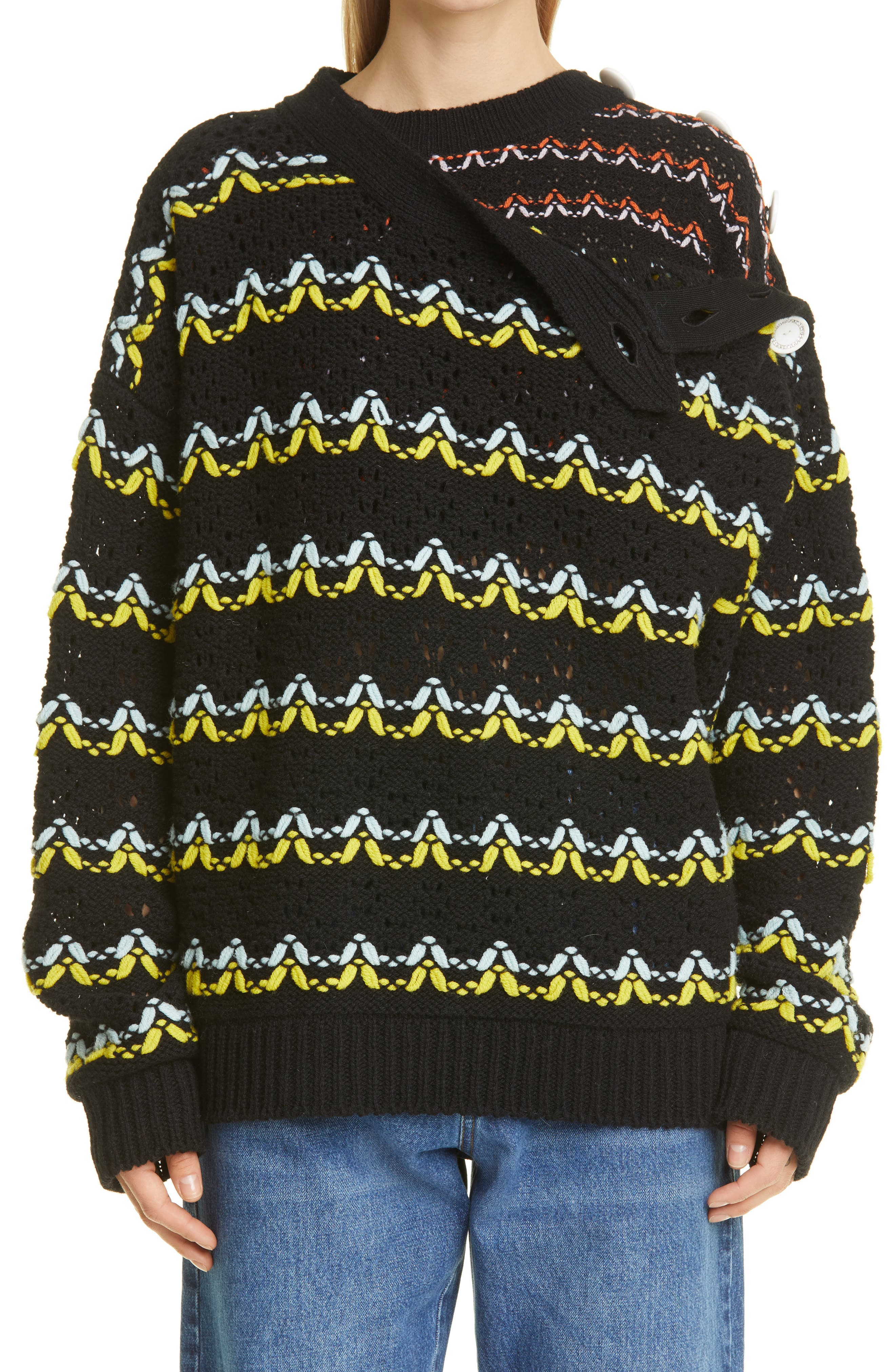 Layered Pointelle Merino Wool Sweater