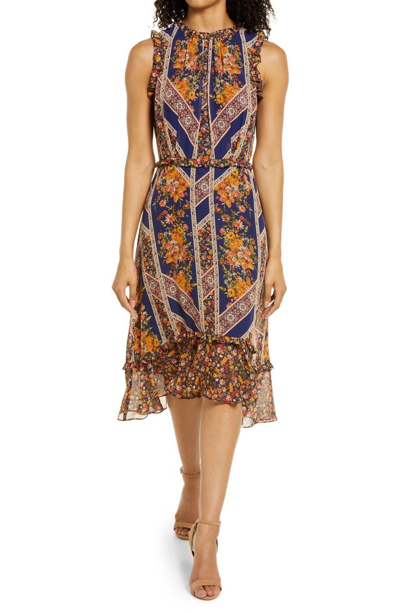 JULIA JORDAN Floral Scarf Print Ruffle Detail A-Line Dress, Main, color, NAVY MULTI