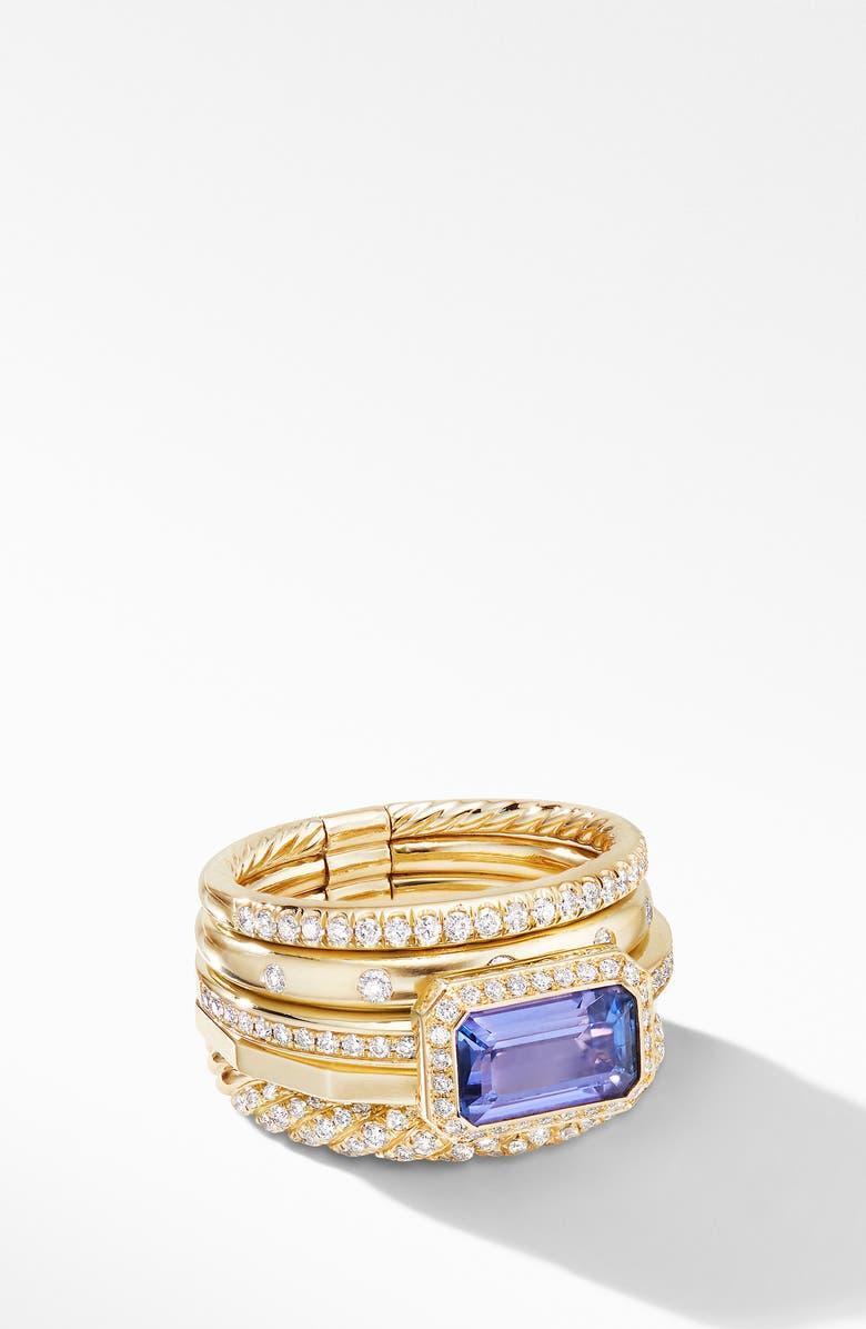 DAVID YURMAN Stax 18k Yellow Gold Statement Ring with Tanzanite & Diamonds, Main, color, YELLOW GOLD/ TANZANITE