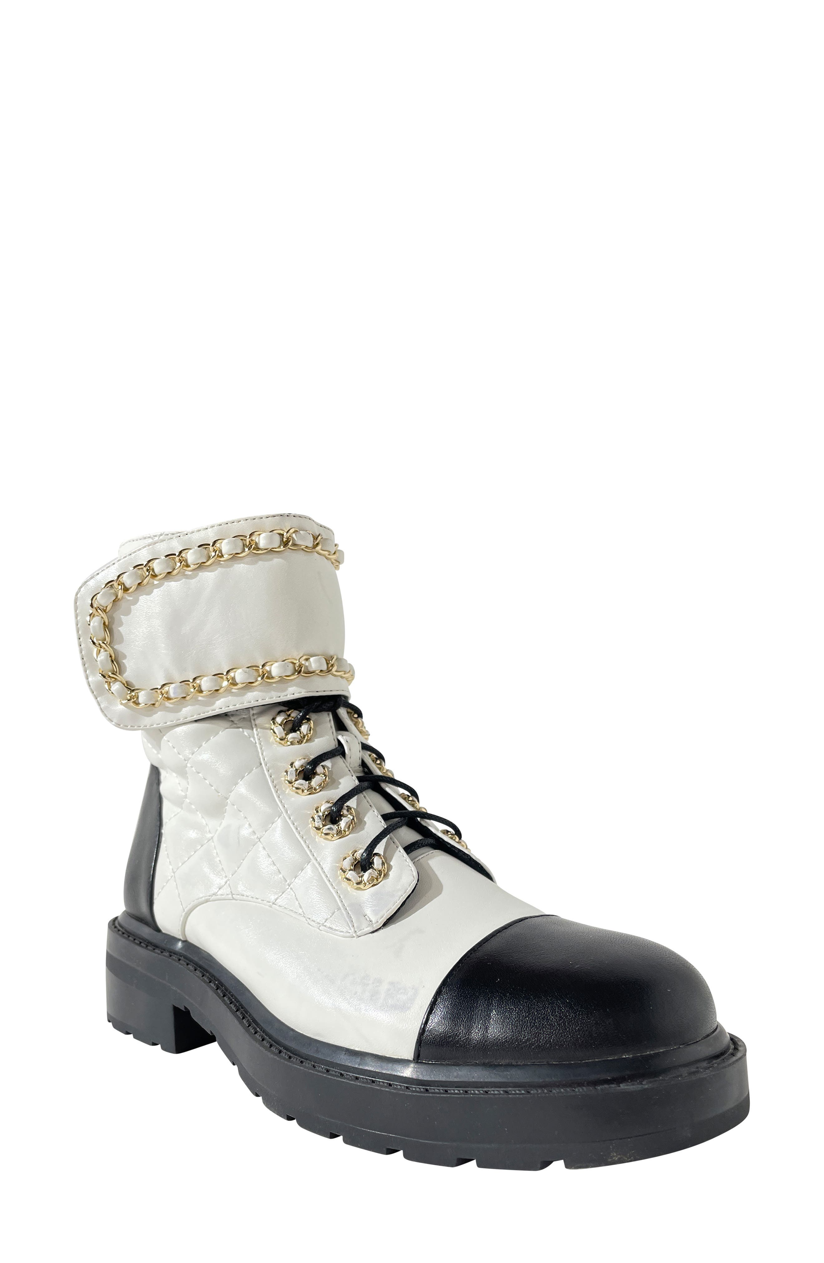 Fetty Faux Leather Combat Boot