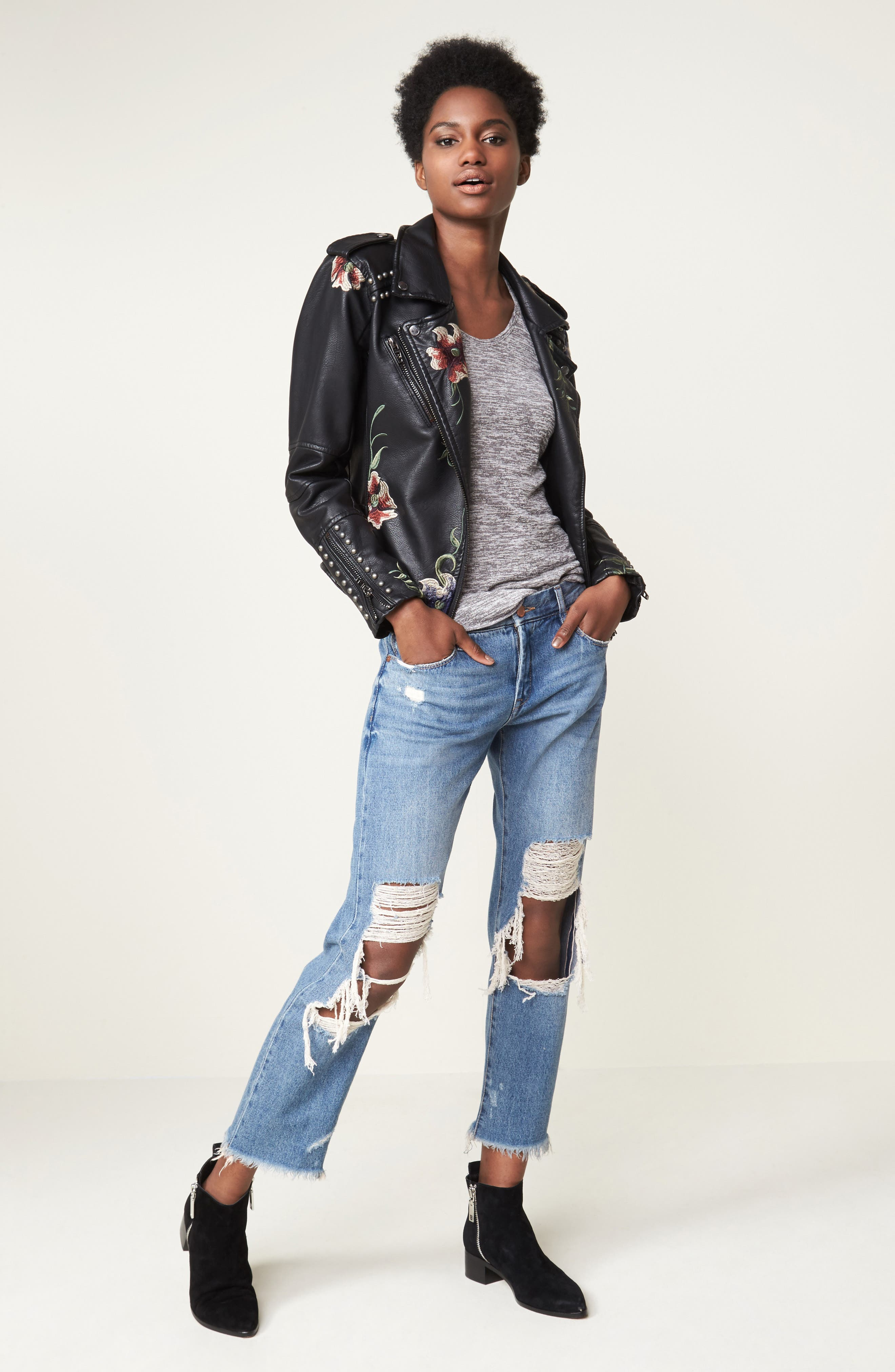 ,                             Embroidered Faux Leather Moto Jacket,                             Alternate thumbnail 2, color,                             001