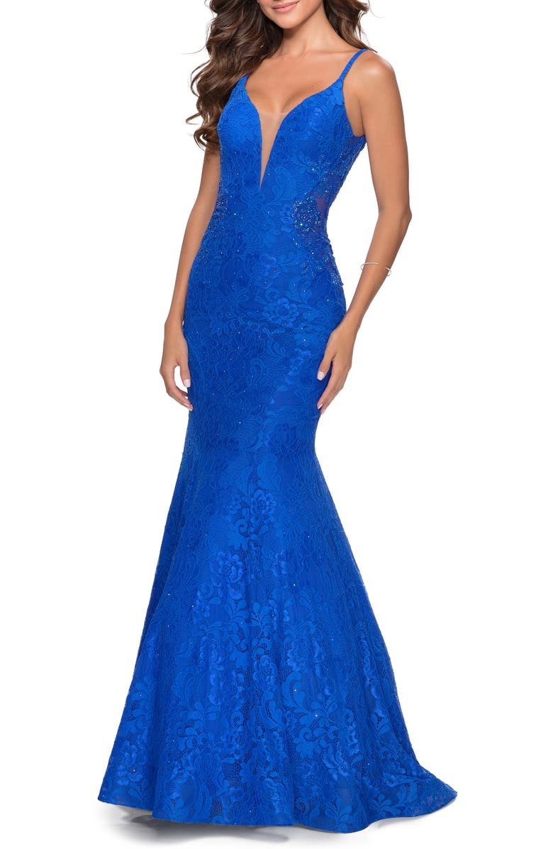 LA FEMME Sleeveless Lace Mermaid Gown, Main, color, ELECTRIC BLUE