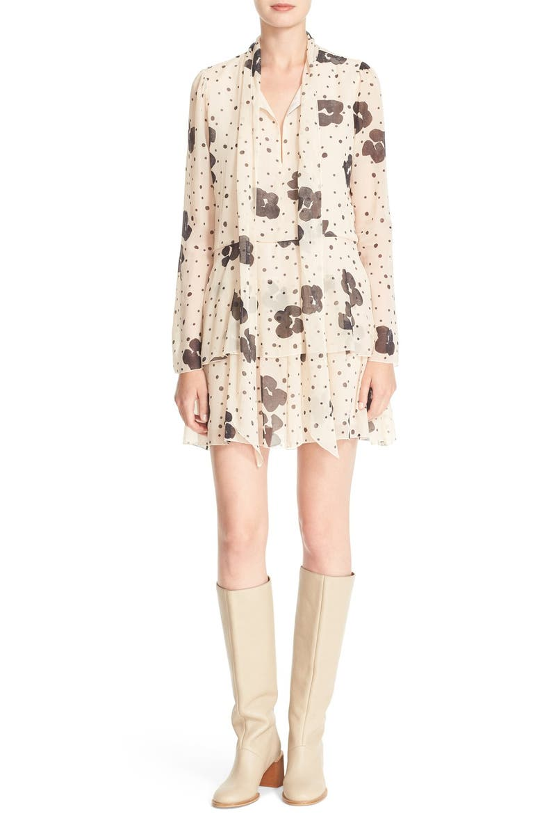 SEE BY CHLOÉ Leopard Print Silk Georgette Dress, Main, color, 250