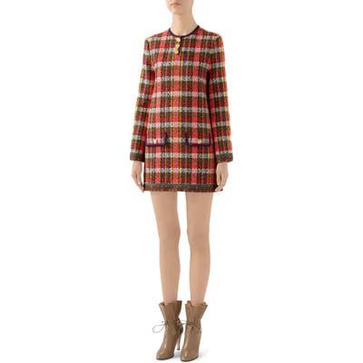 Gucci Wool Blend Tweed Long Sleeve Minidress, 8 IT - Red