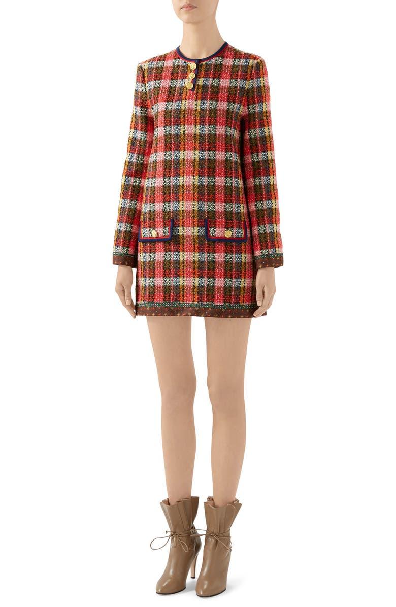 GUCCI Wool Blend Tweed Long Sleeve Minidress, Main, color, BEIGE/ MIX